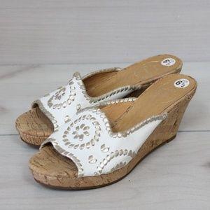 Jack Rogers Platinum Whipstitch Cork Wedge Sandals